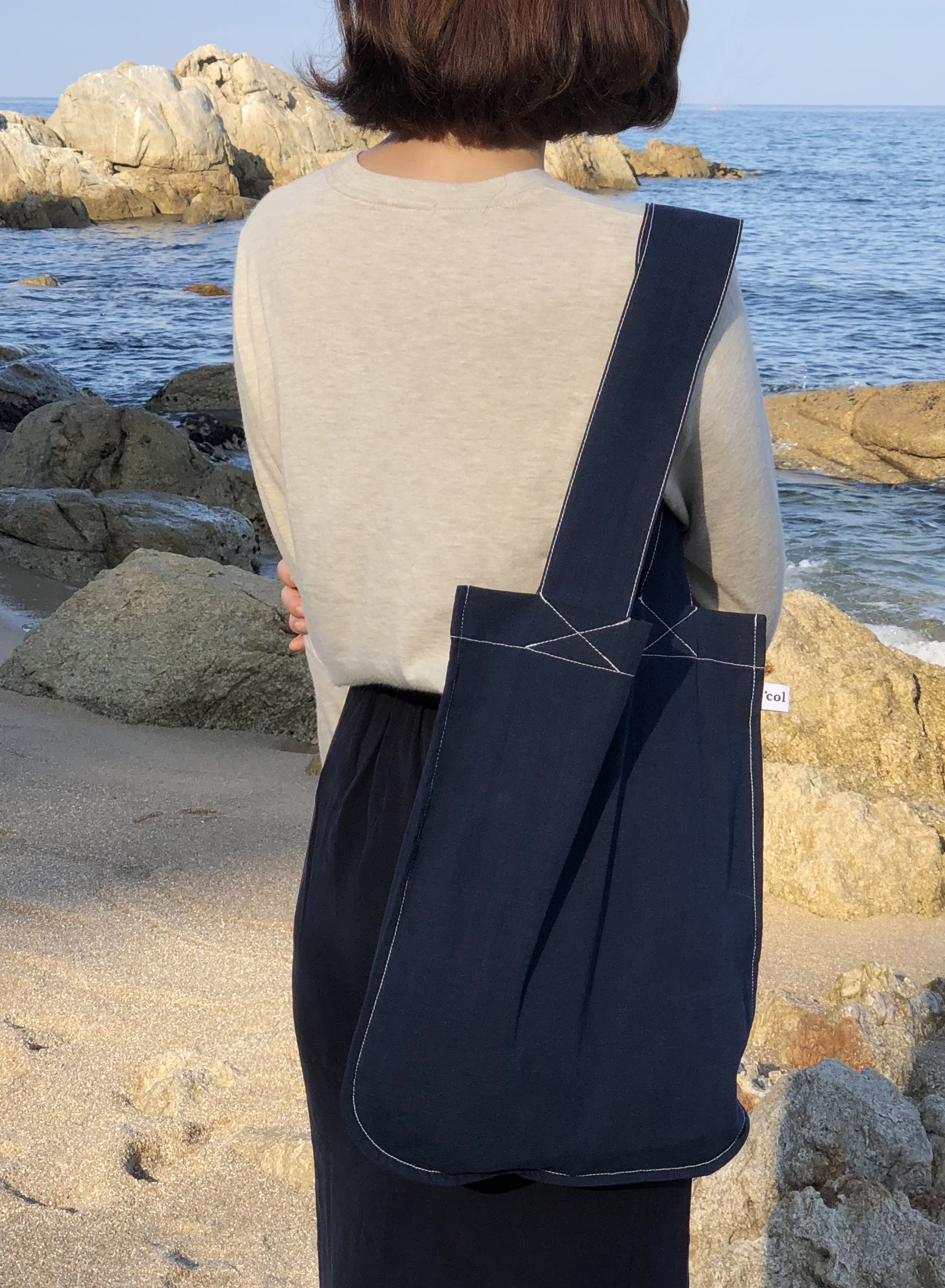 Navy Stitch Bag